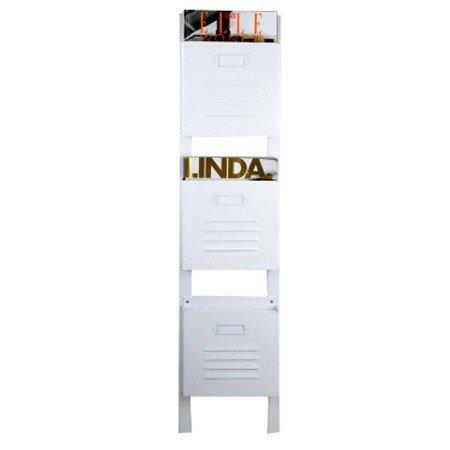 Hvid magasinholder - 3 rum