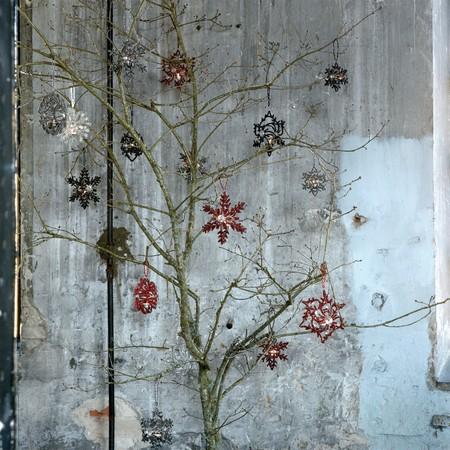 Lysestage til oph�ng - sort snowflake