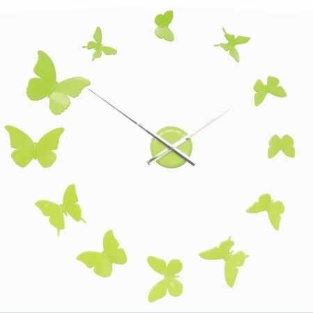 DIY vægur med sommerfugle - lime