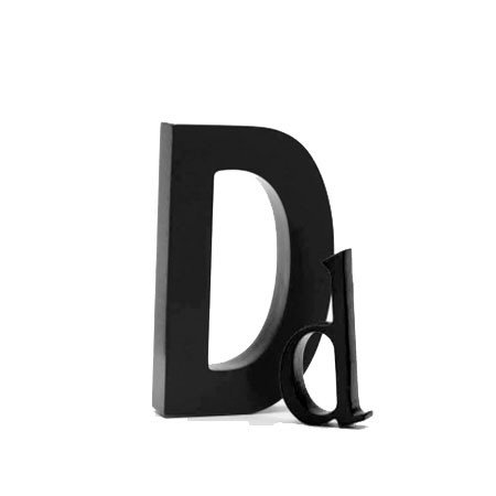 Træ bogstav D - sort