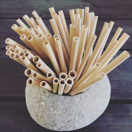 Bambus sugerør - 5 stk.