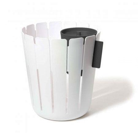 Papirkurv med affaldsspand - hvid/sort
