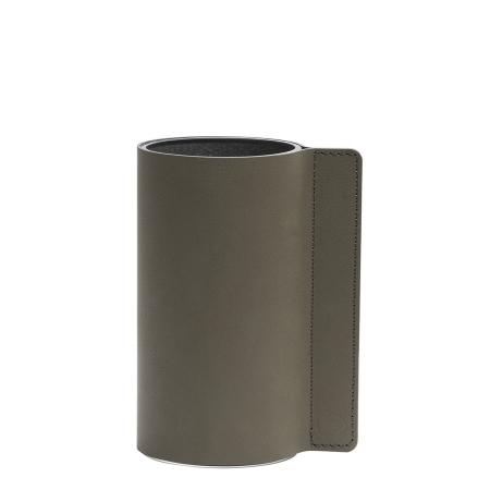 Block læder vase i army green - small