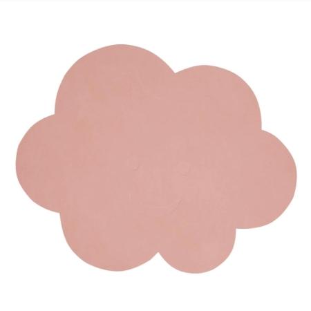 Dækkeserviet i læder - rosa sky