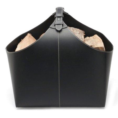 Brændekurv - sort læder