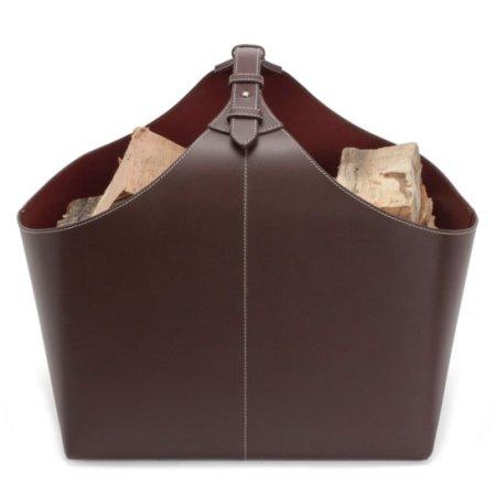 Brændekurv - brun læder