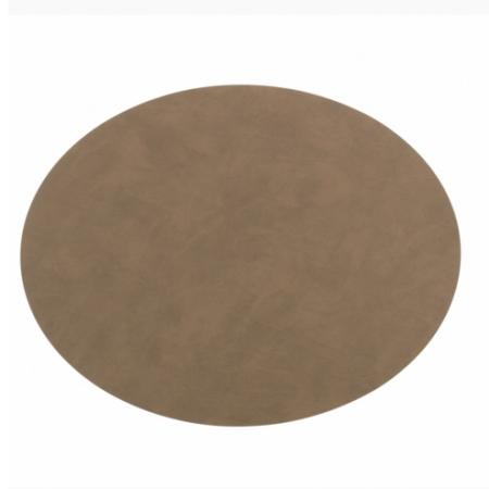 Brun oval læder dækkeserviet - Lind DNA