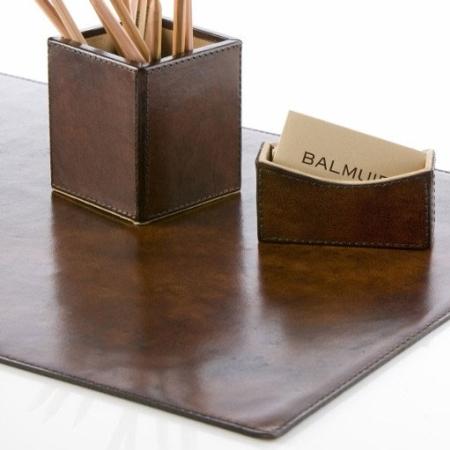 Læder skrivebordsunderlag Wiliam - mørk brun