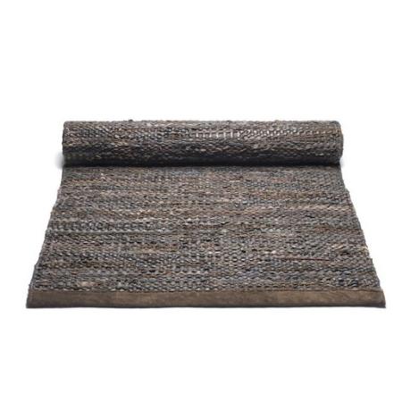 Lang læder gulv løber - mørk brun 75x300 cm