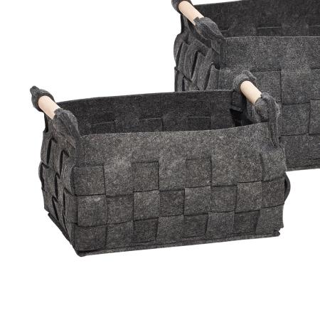 Mørk grå filt kurv - lille