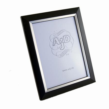 Tr� fotoramme i sort og s�lv 13x18 cm