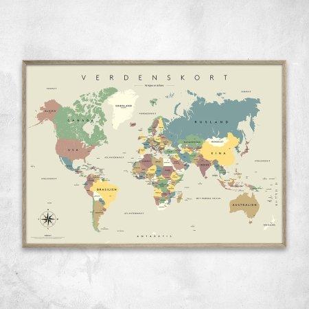 Gehalt plakat Verdenskort - beige/grå