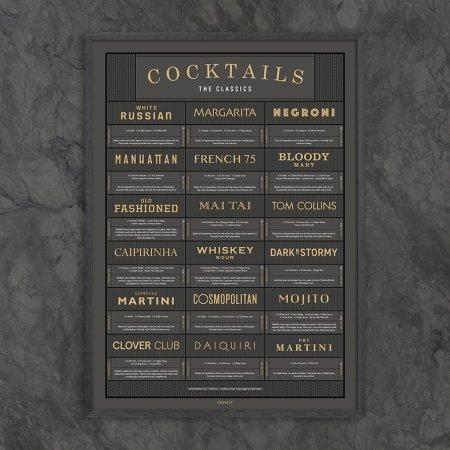 Gehalt plakat Cocktails - The Classics i koksgrå