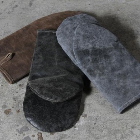 Grill handske i læder - brun