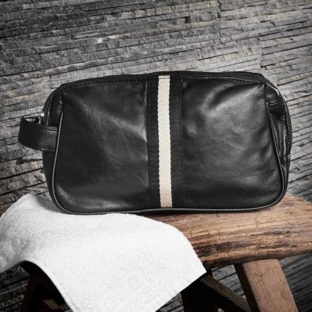 Herretoilettaske - sort læder l