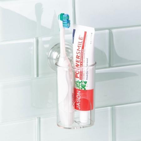 Dobbelt tandbørsteholder med sugekop