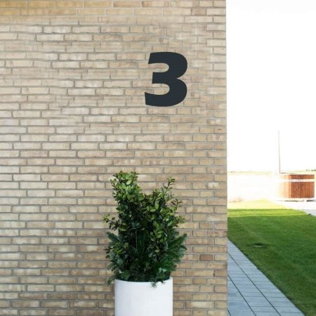 Sort husnummer 3 - 20 cm