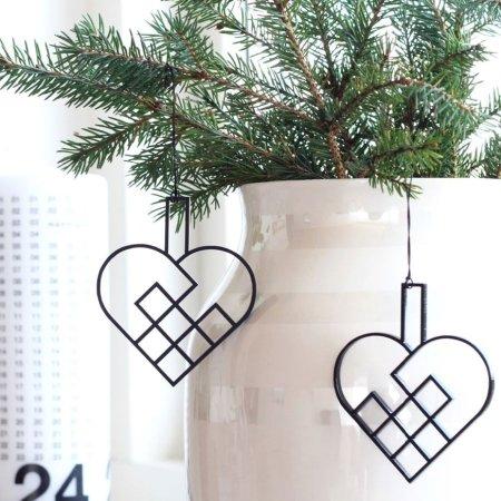 Julehjerter med ophæng - 2 stk