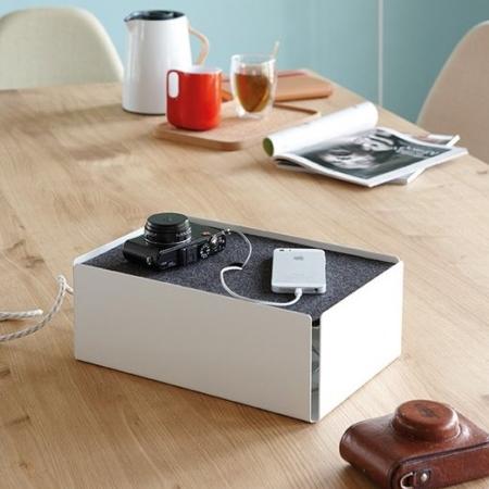 Charge box - hvid/gr� filt