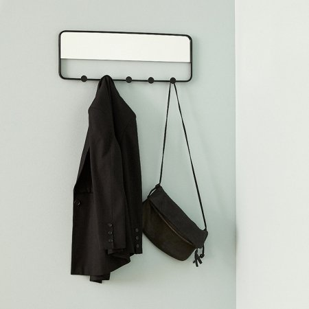 Knagerække med spejl i sort metal