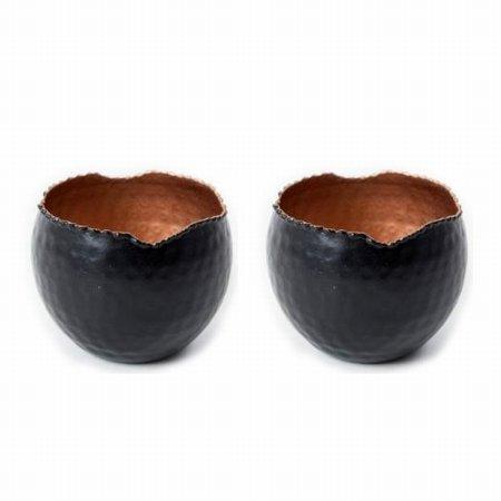 Sort og kobber lysestager - 2 stk.