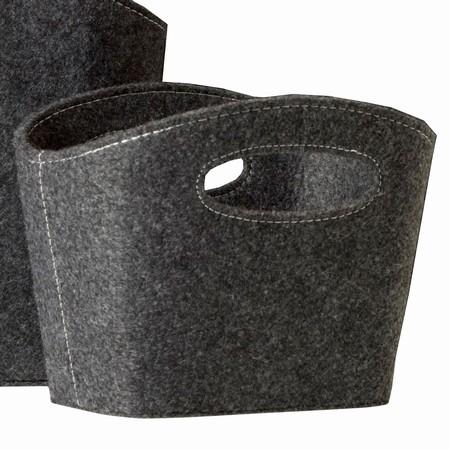 Lille kurv - mørk grå filt