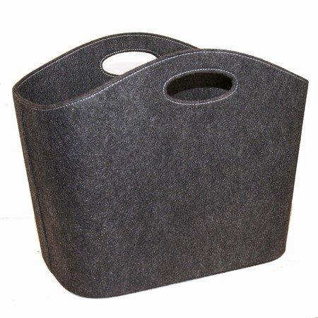 Opbevaringskurv i grå/sort filt