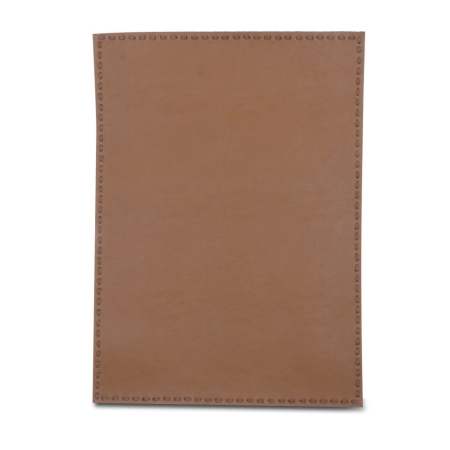 Dækkeserviet i lys brun læder