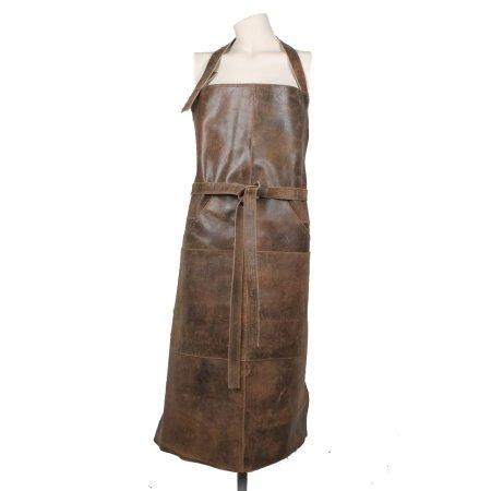 Læder forklæde - brun