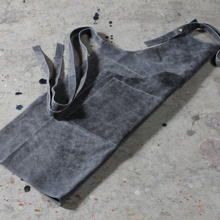Læder forklæde - grå