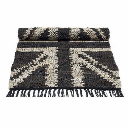 Læder tæppe med flag - beige flag