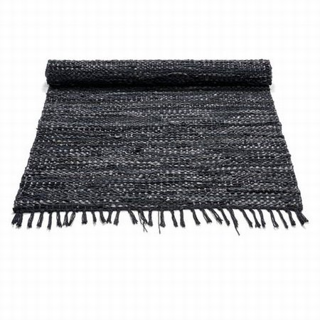 Læder tæppe - sort 60x90 cm
