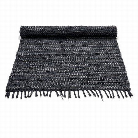 Læder løber - sort 65x135 cm