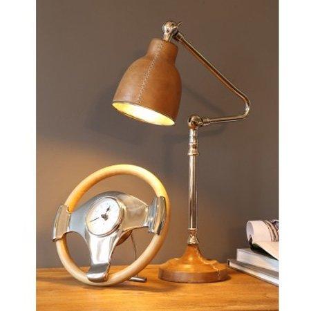 Skrivebordslampe - brun l�der
