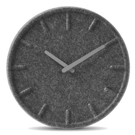 Felt35 - vægur i filt grå visere