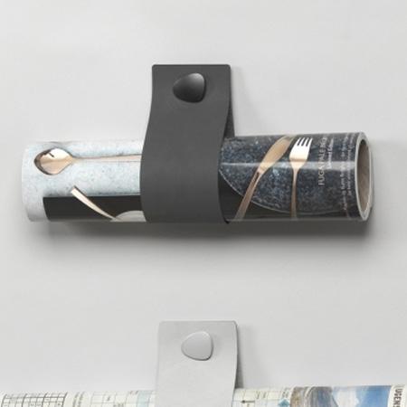 Wall Sling i sort l�der - magasinholder