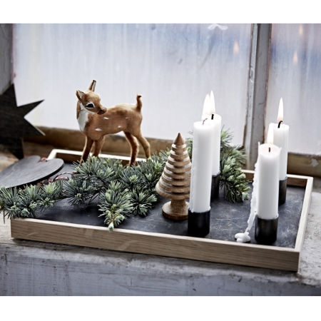 Candle Tray - lyst træ med lysestager