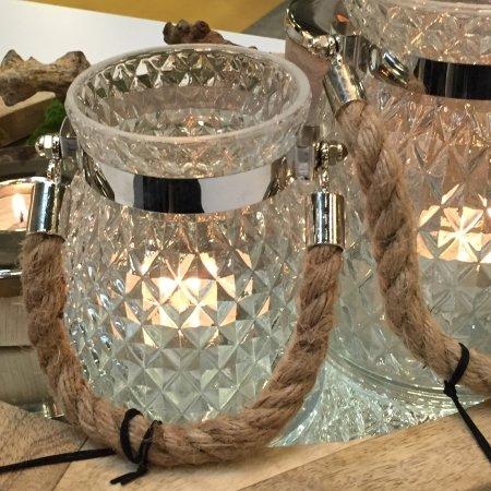 Glas lysestage med reb - lille