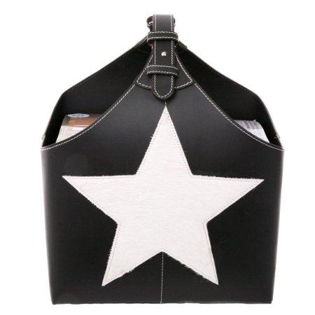 Magasinholder i sort læder med pony stjerne