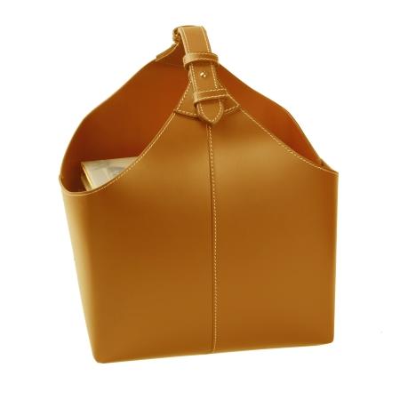 Magasinholder i læder - cognac