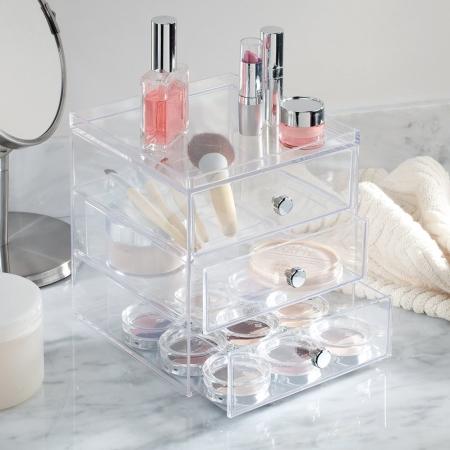 Make-up holder klar akryl 3 skuffer