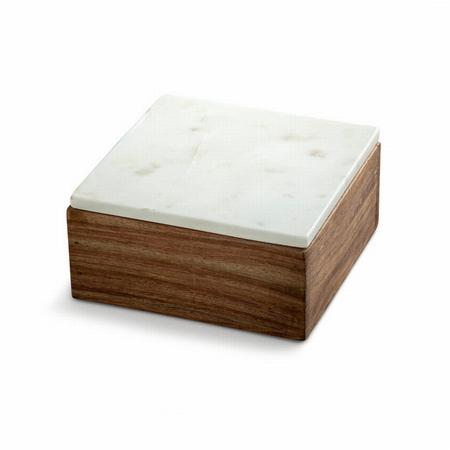 Tr� box med marmor l�g - small