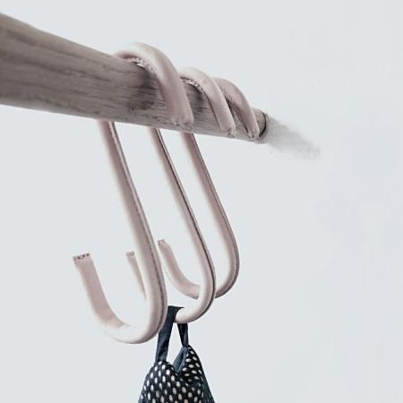 S-hooks lys brun læder - 3 stk.
