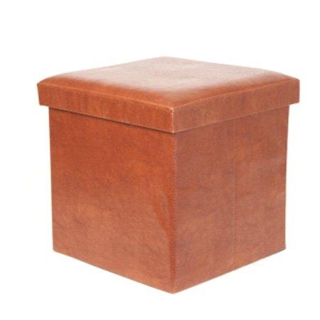 Opbevaringskasse / stol - brun læder look