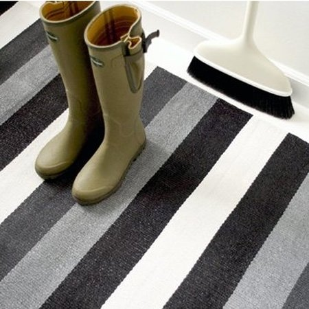 Plastik tæppe sort/grå/hvid - 60x90 cm