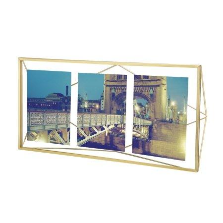 Prisma fotoramme til 3 billeder - messing