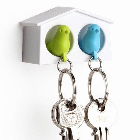 Dobbelt fuglehus med n�gleringe - bl� og gr�n