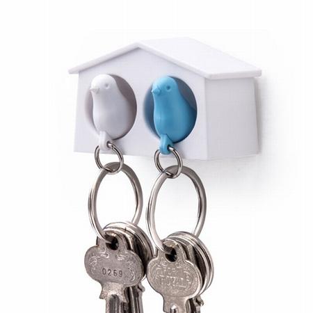 Dobbelt fuglehus med nøgleringe - hvid og blå