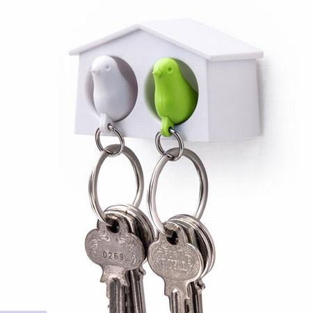 Dobbelt fuglehus med nøgleringe - hvid og grøn