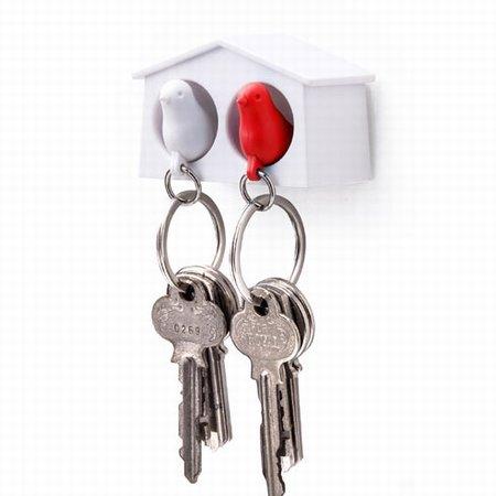 Dobbelt fuglehus med nøgleringe - hvid og rød